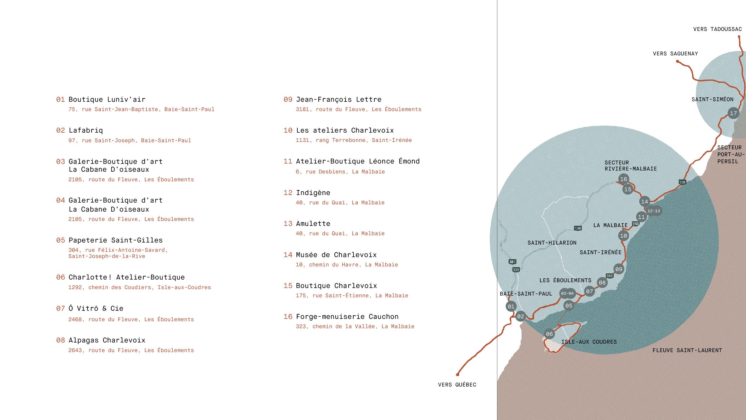 carte route des artisans de charlevoix